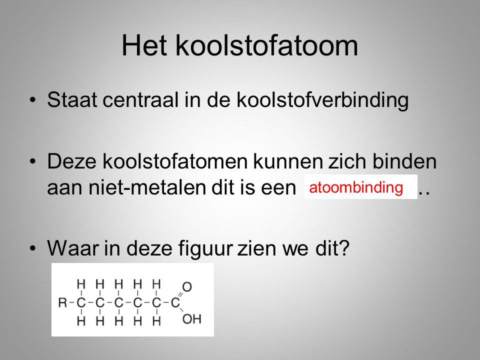 Het koolstofatoom Staat centraal in de koolstofverbinding Deze koolstofatomen kunnen zich binden aan niet-metalen dit is een ……………… Waar in deze figuur zien we dit.