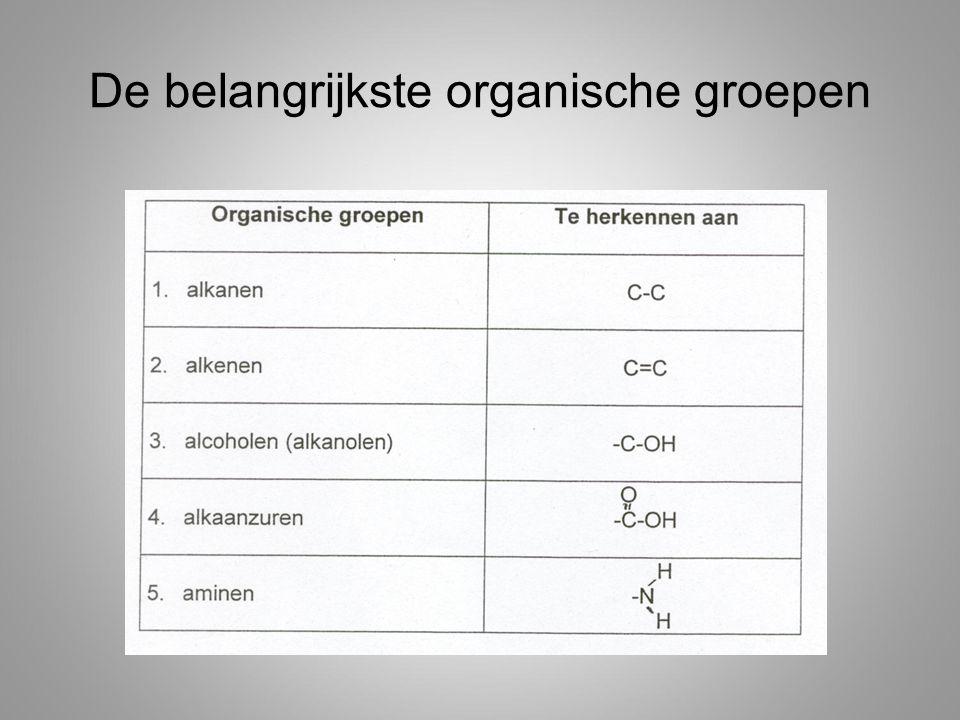 Volgorde Eerst alcohol Dan alkenen Dan halogenen Dan alkanen
