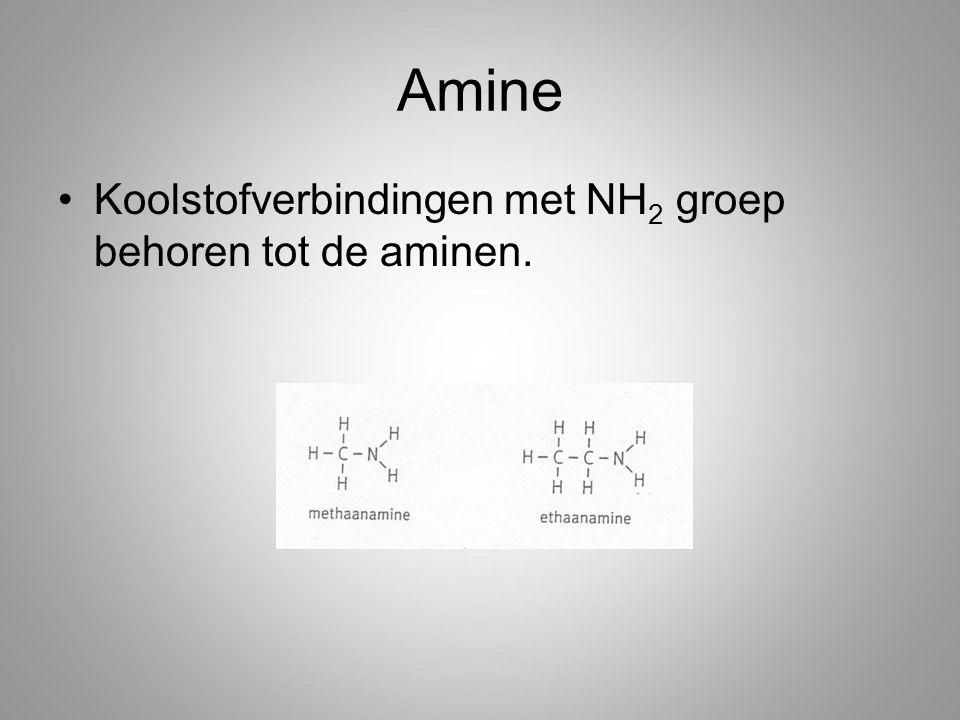 Amine Koolstofverbindingen met NH 2 groep behoren tot de aminen.