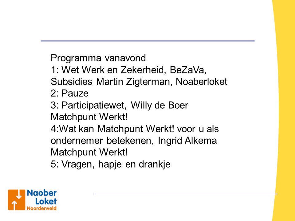Programma vanavond 1: Wet Werk en Zekerheid, BeZaVa, Subsidies Martin Zigterman, Noaberloket 2: Pauze 3: Participatiewet, Willy de Boer Matchpunt Werk
