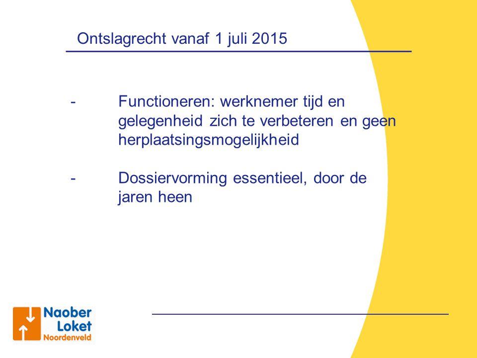 Ontslagrecht vanaf 1 juli 2015 - Functioneren: werknemer tijd en gelegenheid zich te verbeteren en geen herplaatsingsmogelijkheid - Dossiervorming ess
