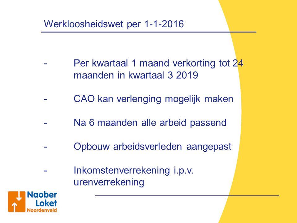 Werkloosheidswet per 1-1-2016 - Per kwartaal 1 maand verkorting tot 24 maanden in kwartaal 3 2019 - CAO kan verlenging mogelijk maken - Na 6 maanden a