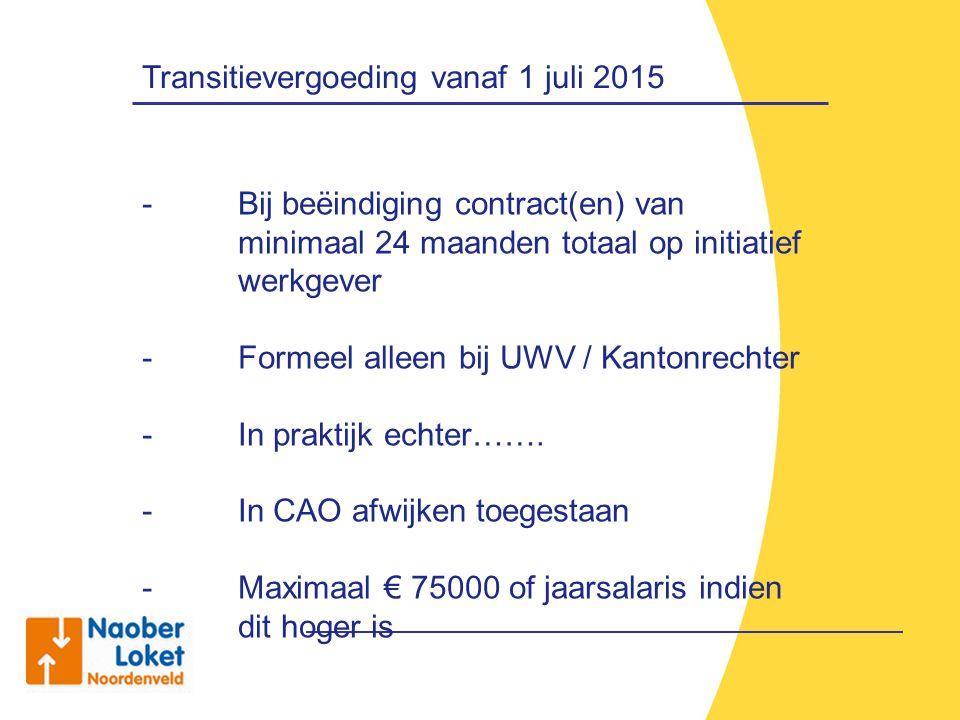 Transitievergoeding vanaf 1 juli 2015 - Bij beëindiging contract(en) van minimaal 24 maanden totaal op initiatief werkgever - Formeel alleen bij UWV /