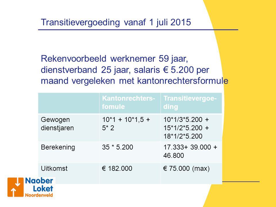 Transitievergoeding vanaf 1 juli 2015 Rekenvoorbeeld werknemer 59 jaar, dienstverband 25 jaar, salaris € 5.200 per maand vergeleken met kantonrechters