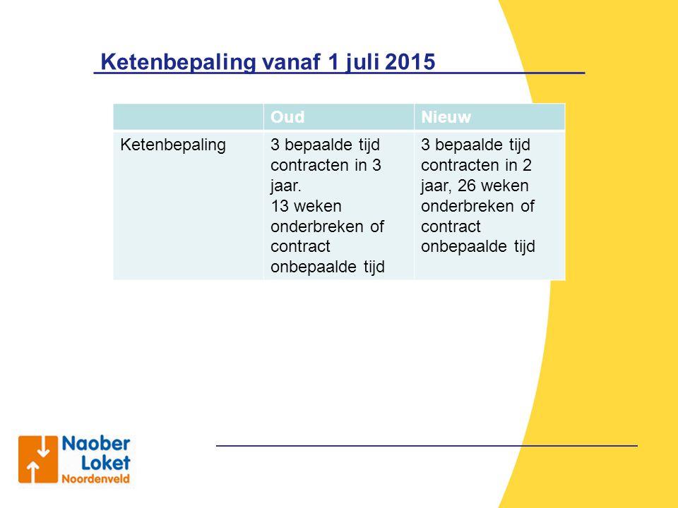 Ketenbepaling vanaf 1 juli 2015 OudNieuw Ketenbepaling3 bepaalde tijd contracten in 3 jaar. 13 weken onderbreken of contract onbepaalde tijd 3 bepaald
