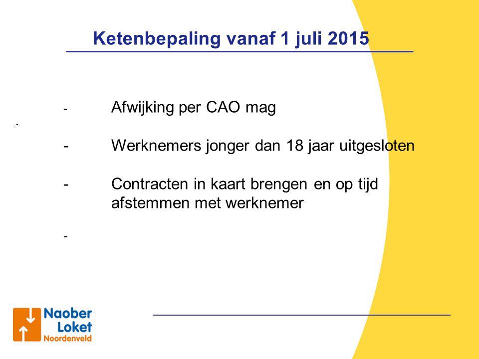 Ketenbepaling vanaf 1 juli 2015,-. - Afwijking per CAO mag - Werknemers jonger dan 18 jaar uitgesloten - Contracten in kaart brengen en op tijd afstem