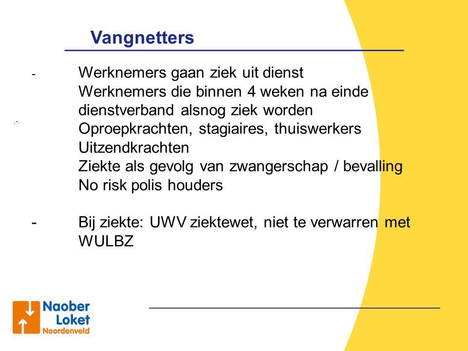 Vangnetters,-. - Werknemers gaan ziek uit dienst Werknemers die binnen 4 weken na einde dienstverband alsnog ziek worden Oproepkrachten, stagiaires, t
