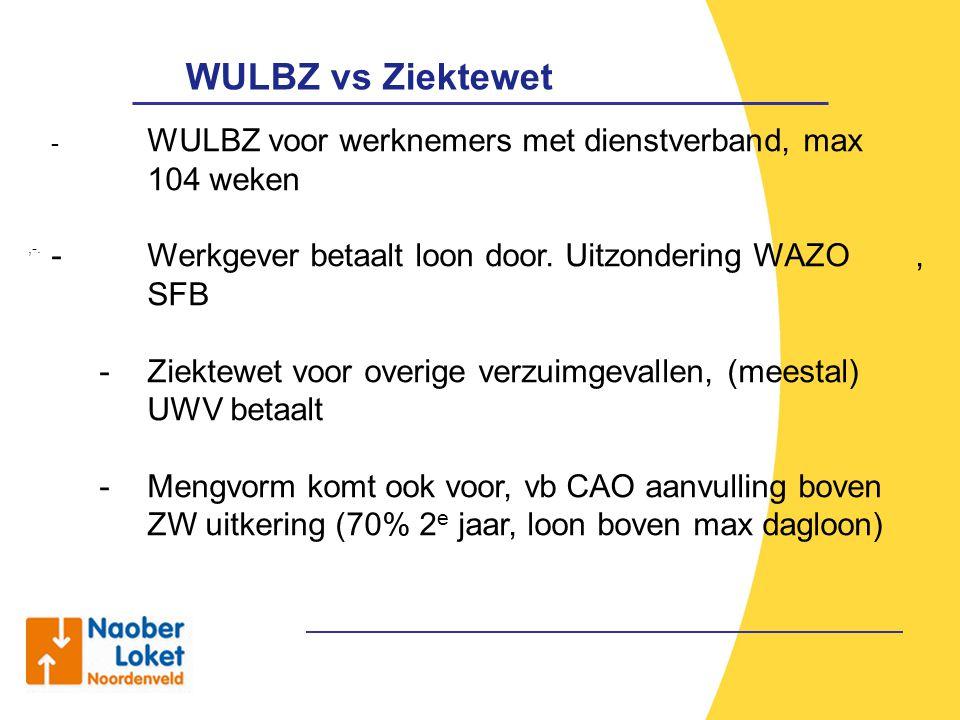 WULBZ vs Ziektewet,-. - WULBZ voor werknemers met dienstverband, max 104 weken - Werkgever betaalt loon door. Uitzondering WAZO, SFB - Ziektewet voor