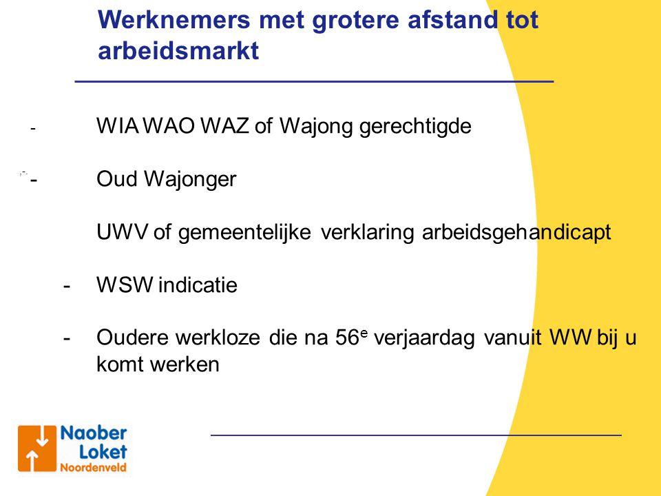 Werknemers met grotere afstand tot arbeidsmarkt,-. - WIA WAO WAZ of Wajong gerechtigde - Oud Wajonger UWV of gemeentelijke verklaring arbeidsgehandica