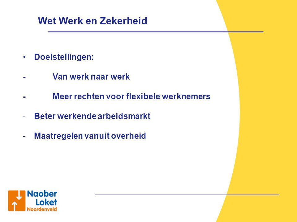 Wet Werk en Zekerheid Doelstellingen: -Van werk naar werk -Meer rechten voor flexibele werknemers -B-Beter werkende arbeidsmarkt -M-Maatregelen vanuit