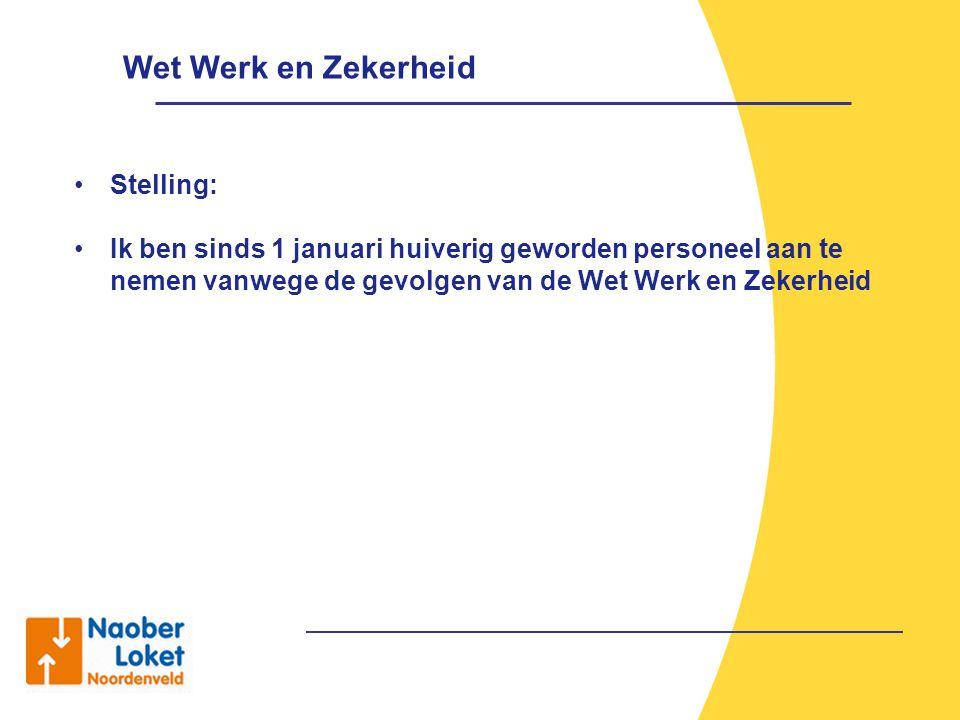 Stelling: Ik ben sinds 1 januari huiverig geworden personeel aan te nemen vanwege de gevolgen van de Wet Werk en Zekerheid