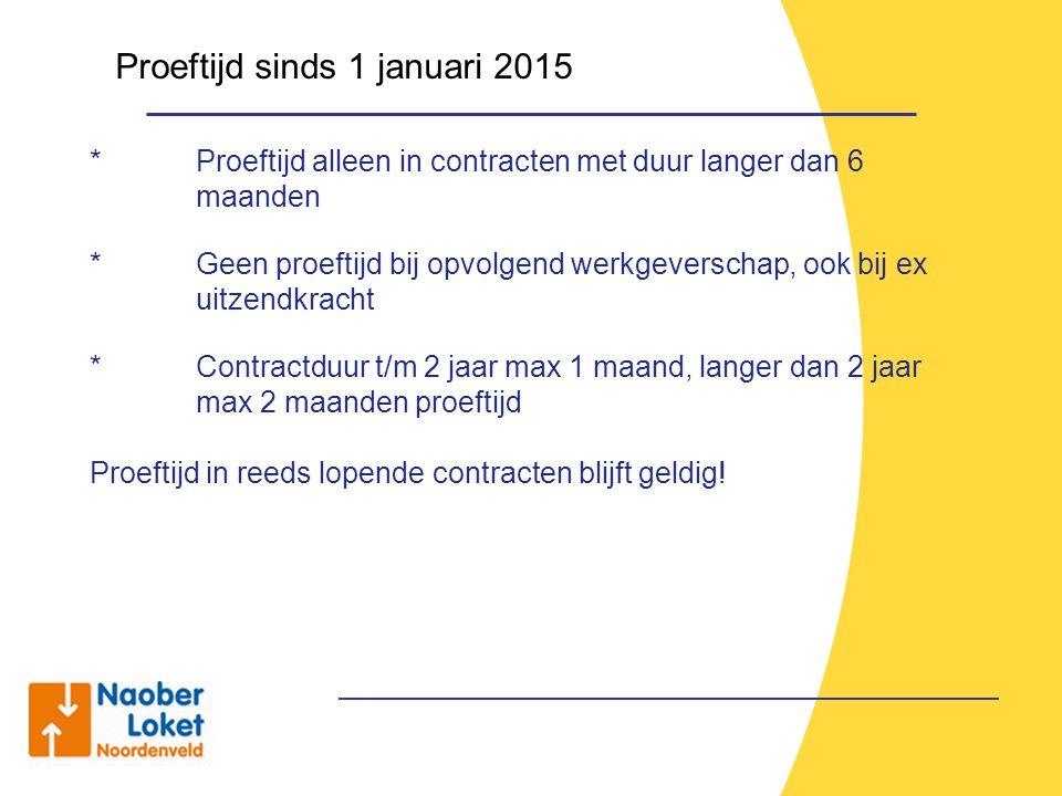 Proeftijd sinds 1 januari 2015 * Proeftijd alleen in contracten met duur langer dan 6 maanden * Geen proeftijd bij opvolgend werkgeverschap, ook bij e
