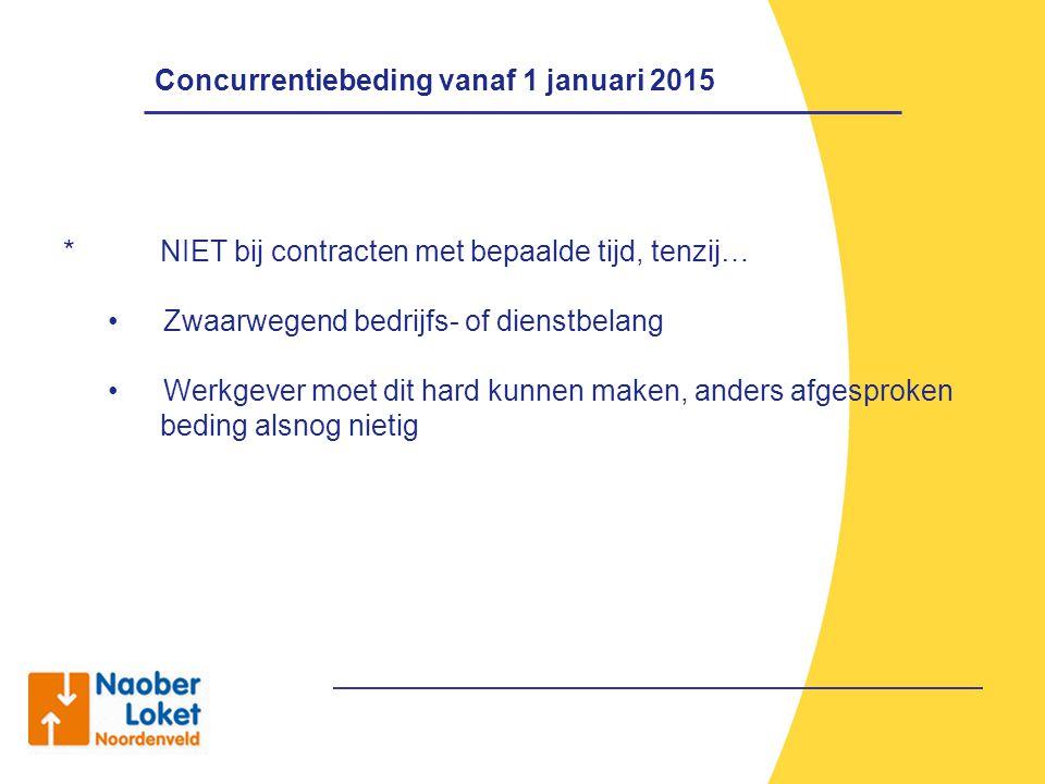 Concurrentiebeding vanaf 1 januari 2015 *NIET bij contracten met bepaalde tijd, tenzij… Zwaarwegend bedrijfs- of dienstbelang Werkgever moet dit hard