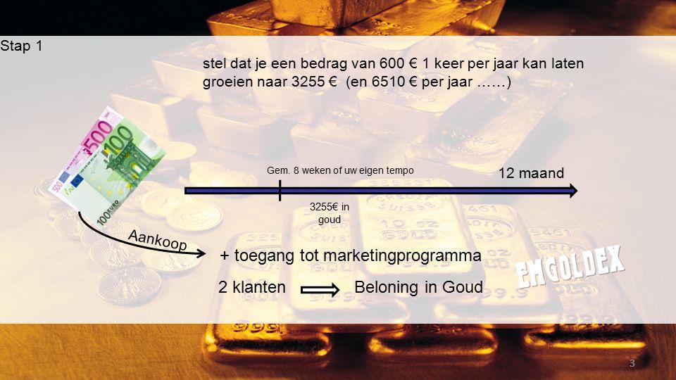 Stap 1 stel dat je een bedrag van 600 € 1 keer per jaar kan laten groeien naar 3255 € (en 6510 € per jaar ……) 333 12 maand 2 klanten 3255€ in goud Gem