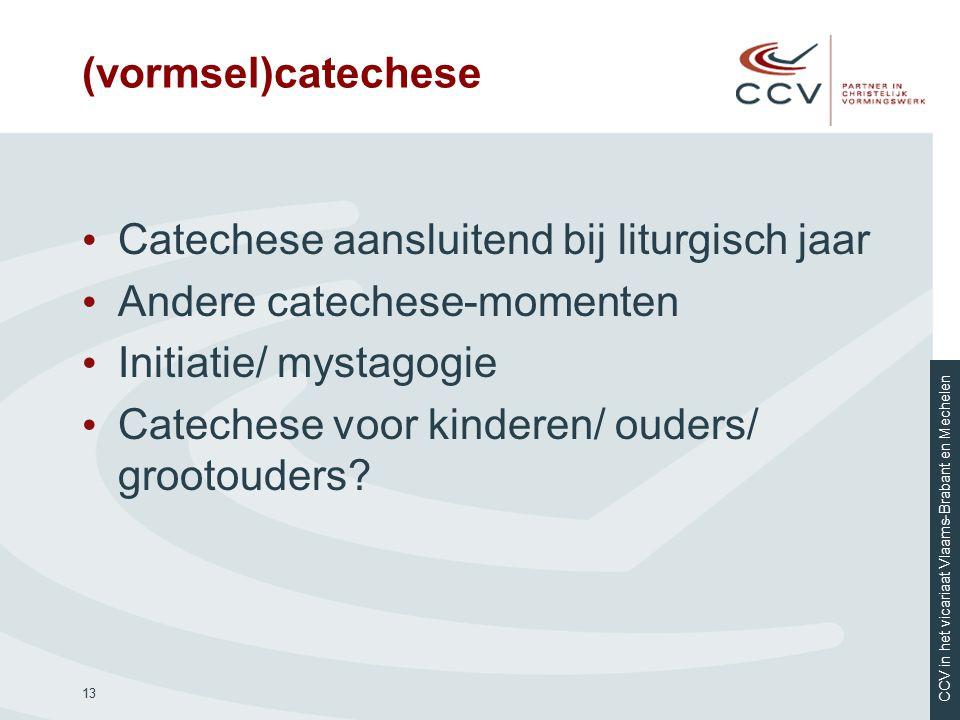 CCV in het vicariaat Vlaams-Brabant en Mechelen (vormsel)catechese Catechese aansluitend bij liturgisch jaar Andere catechese-momenten Initiatie/ myst