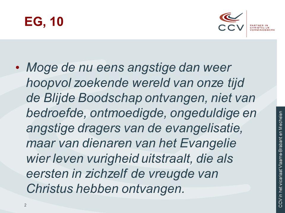 CCV in het vicariaat Vlaams-Brabant en Mechelen (vormsel)catechese Catechese aansluitend bij liturgisch jaar Andere catechese-momenten Initiatie/ mystagogie Catechese voor kinderen/ ouders/ grootouders.