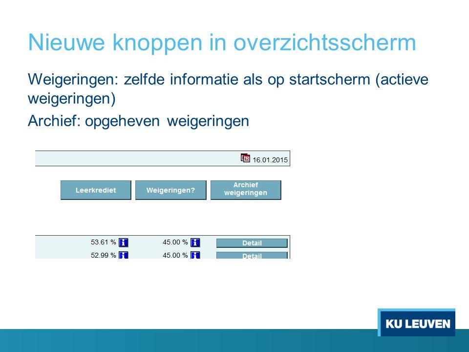 Nieuwe knoppen in overzichtsscherm Weigeringen: zelfde informatie als op startscherm (actieve weigeringen) Archief: opgeheven weigeringen