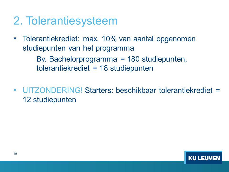 2.Tolerantiesysteem Tolerantiekrediet: max.