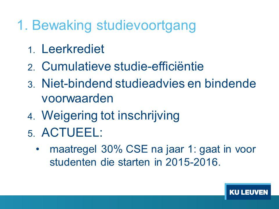 1. Bewaking studievoortgang 1. Leerkrediet 2. Cumulatieve studie-efficiëntie 3. Niet-bindend studieadvies en bindende voorwaarden 4. Weigering tot ins