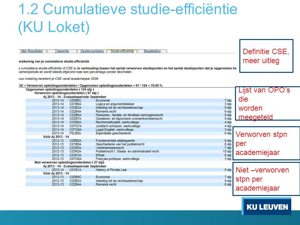 1.2 Cumulatieve studie-efficiëntie (KU Loket) Definitie CSE, meer uitleg Lijst van OPO's die worden meegeteld Verworven stpn per academiejaar Niet –verworven stpn per academiejaar