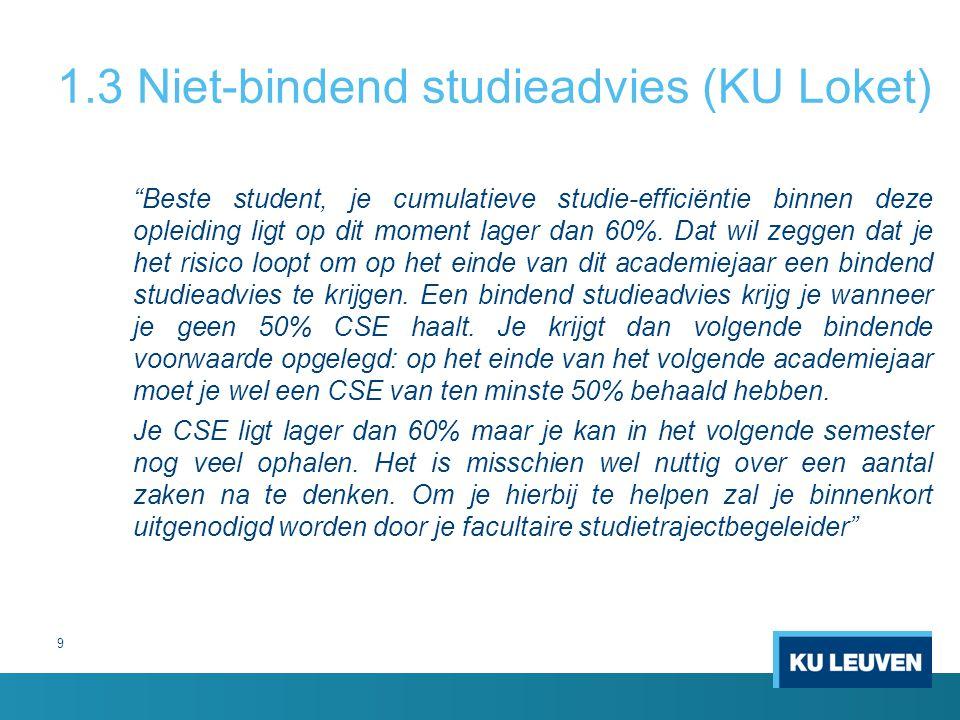 """1.3 Niet-bindend studieadvies (KU Loket) """"Beste student, je cumulatieve studie-efficiëntie binnen deze opleiding ligt op dit moment lager dan 60%. Dat"""