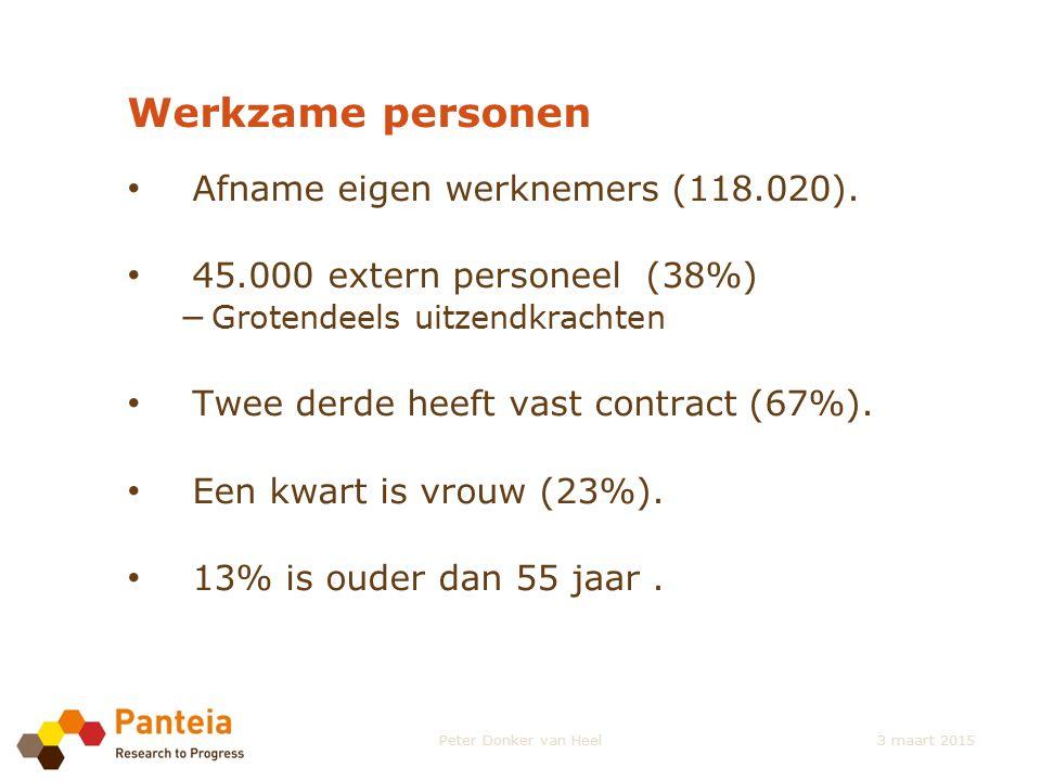 Werkzame personen Afname eigen werknemers (118.020). 45.000 extern personeel (38%) − Grotendeels uitzendkrachten Twee derde heeft vast contract (67%).