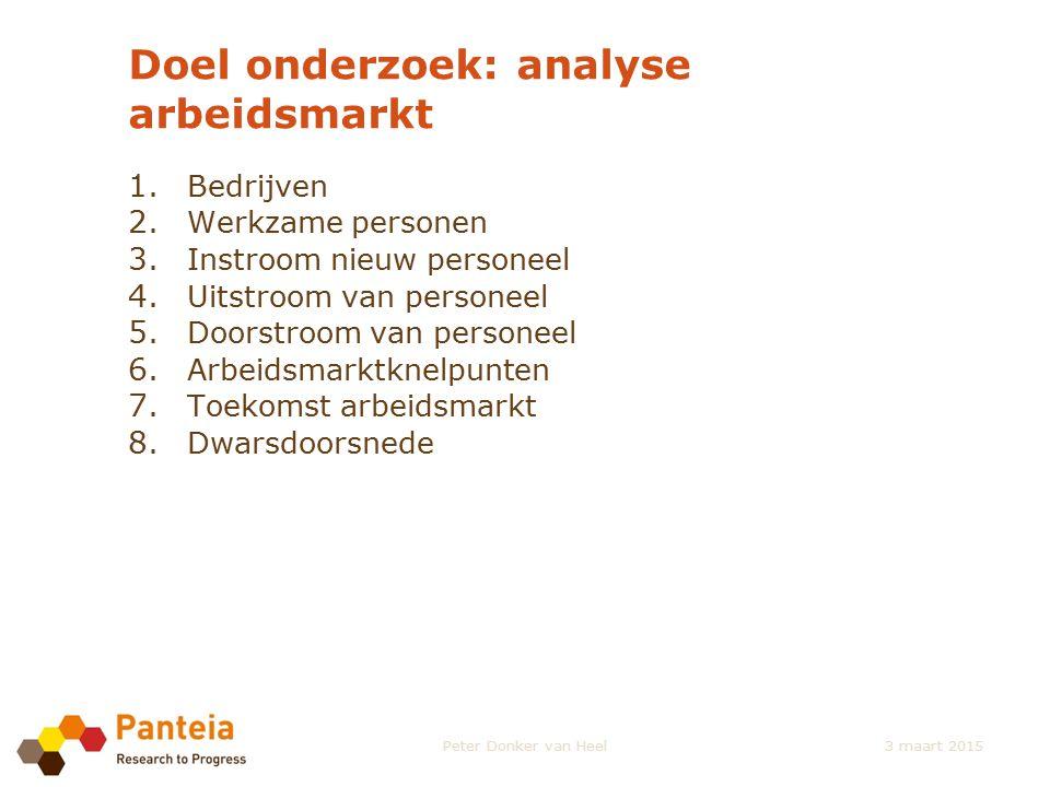 Doel onderzoek: analyse arbeidsmarkt 1. Bedrijven 2. Werkzame personen 3. Instroom nieuw personeel 4. Uitstroom van personeel 5. Doorstroom van person