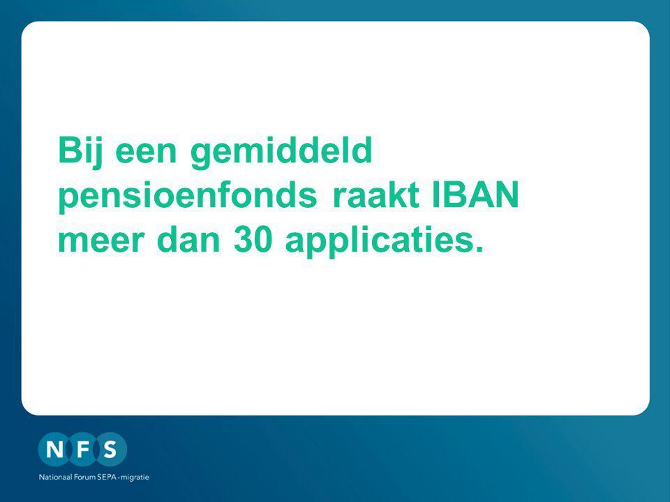 Bij een gemiddeld pensioenfonds raakt IBAN meer dan 30 applicaties.