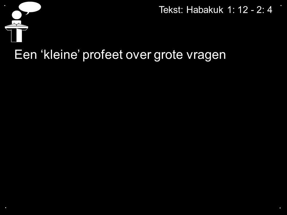 .... Tekst: Habakuk 1: 12 - 2: 4 Een 'kleine' profeet over grote vragen
