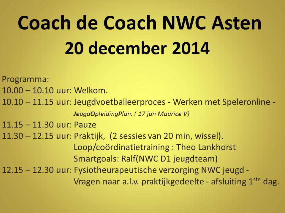 20 december 2014 Programma: 10.00 – 10.10 uur: Welkom. 10.10 – 11.15 uur: Jeugdvoetballeerproces - Werken met Speleronline - JeugdOpleidingPlan. ( 17
