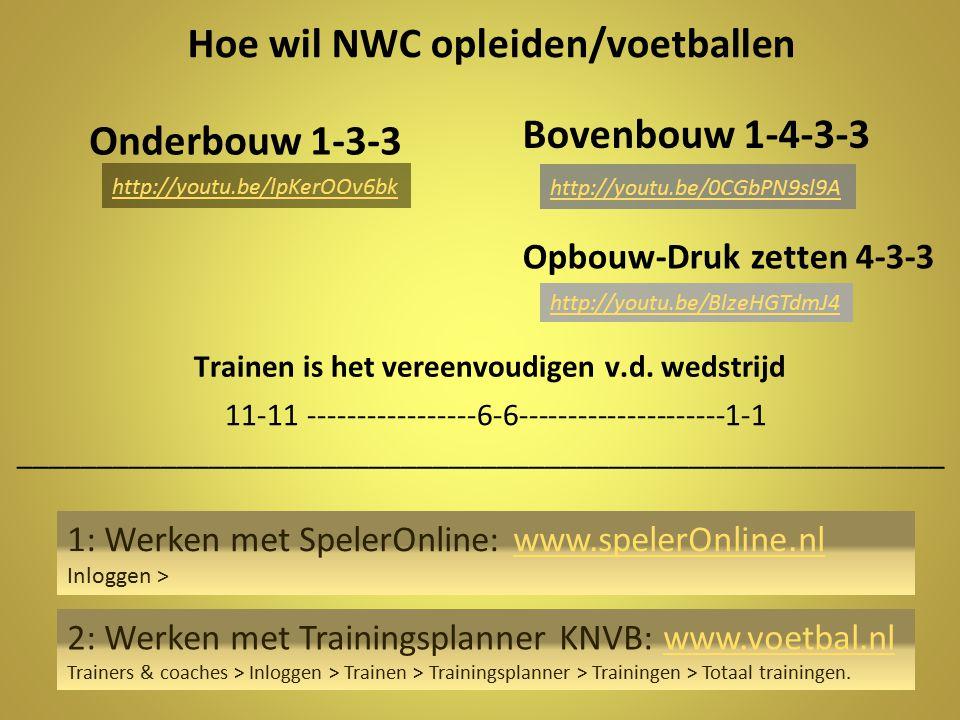 Hoe wil NWC opleiden/voetballen Trainen is het vereenvoudigen v.d. wedstrijd Bovenbouw 1-4-3-3 Onderbouw 1-3-3 11-11 -----------------6-6-------------
