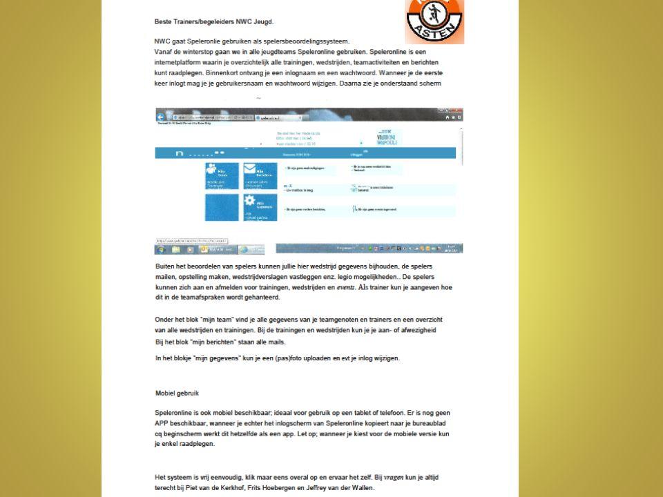 hjobovenbouw@nwc-asten.nl hjobovenbouw@nwc-asten.nl Speleronline: Binnen mijn team moeten jullie de teamspelers zelf activeren door via speleronline een mail te sturen met inloggegevens ( KNVB nummer) en wachtwoord (welkom……….) Vergeet niet verstuur mail aan te vinken..