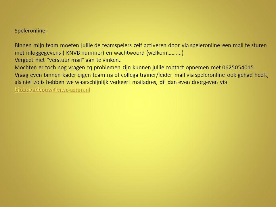 hjobovenbouw@nwc-asten.nl hjobovenbouw@nwc-asten.nl Speleronline: Binnen mijn team moeten jullie de teamspelers zelf activeren door via speleronline e