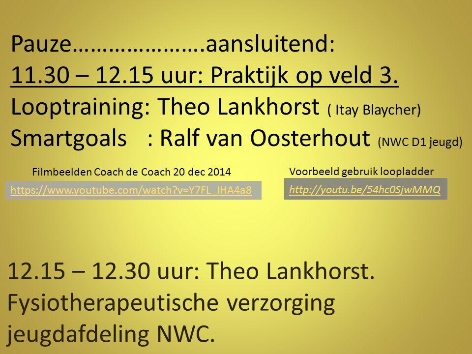 Pauze………………….aansluitend: 11.30 – 12.15 uur: Praktijk op veld 3. Looptraining: Theo Lankhorst ( Itay Blaycher) Smartgoals : Ralf van Oosterhout (NWC D