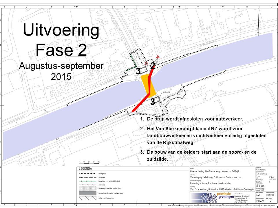 Uitvoering Fase 2 Augustus-september 2015 1.De brug wordt afgesloten voor autoverkeer. 2.Het Van Starkenborghkanaal NZ wordt voor landbouwverkeer en v