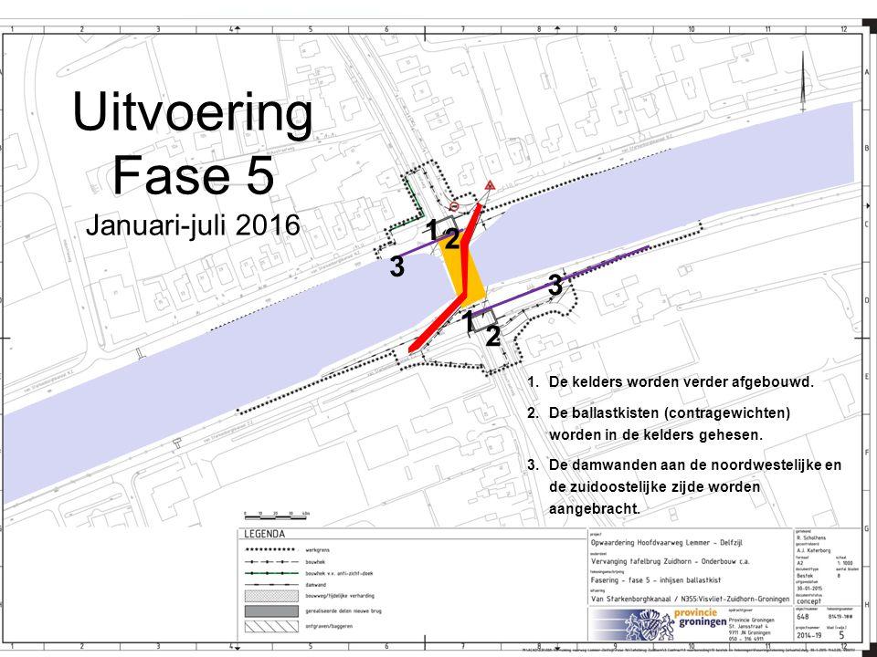 Uitvoering Fase 5 Januari-juli 2016 1.De kelders worden verder afgebouwd. 2.De ballastkisten (contragewichten) worden in de kelders gehesen. 3.De damw