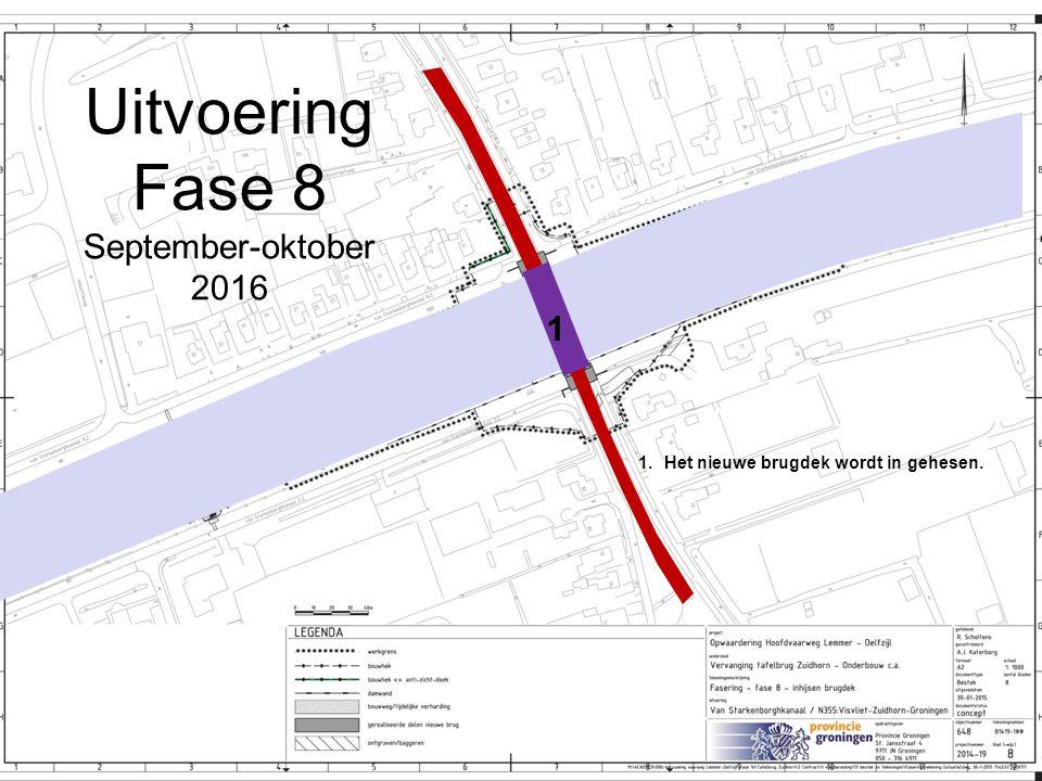 Uitvoering Fase 8 September-oktober 2016 1.Het nieuwe brugdek wordt in gehesen. 1