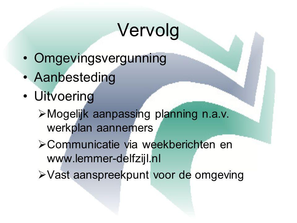 Vervolg Omgevingsvergunning Aanbesteding Uitvoering  Mogelijk aanpassing planning n.a.v.