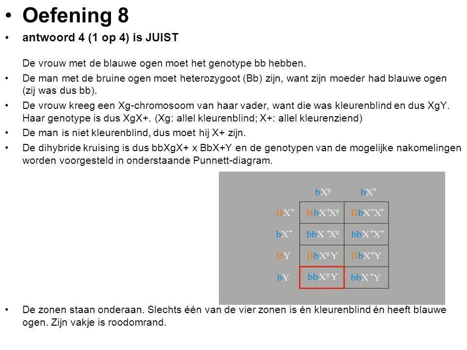 Oefening 8 antwoord 4 (1 op 4) is JUIST De vrouw met de blauwe ogen moet het genotype bb hebben. De man met de bruine ogen moet heterozygoot (Bb) zijn