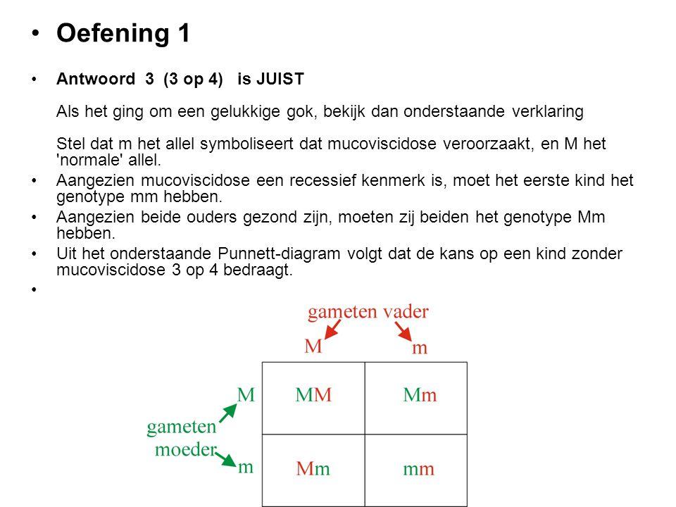 Oefening 1 Antwoord 3 (3 op 4) is JUIST Als het ging om een gelukkige gok, bekijk dan onderstaande verklaring Stel dat m het allel symboliseert dat mu