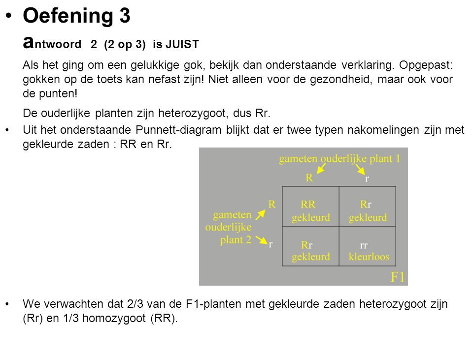 Oefening 3 a ntwoord 2 (2 op 3) is JUIST Als het ging om een gelukkige gok, bekijk dan onderstaande verklaring. Opgepast: gokken op de toets kan nefas