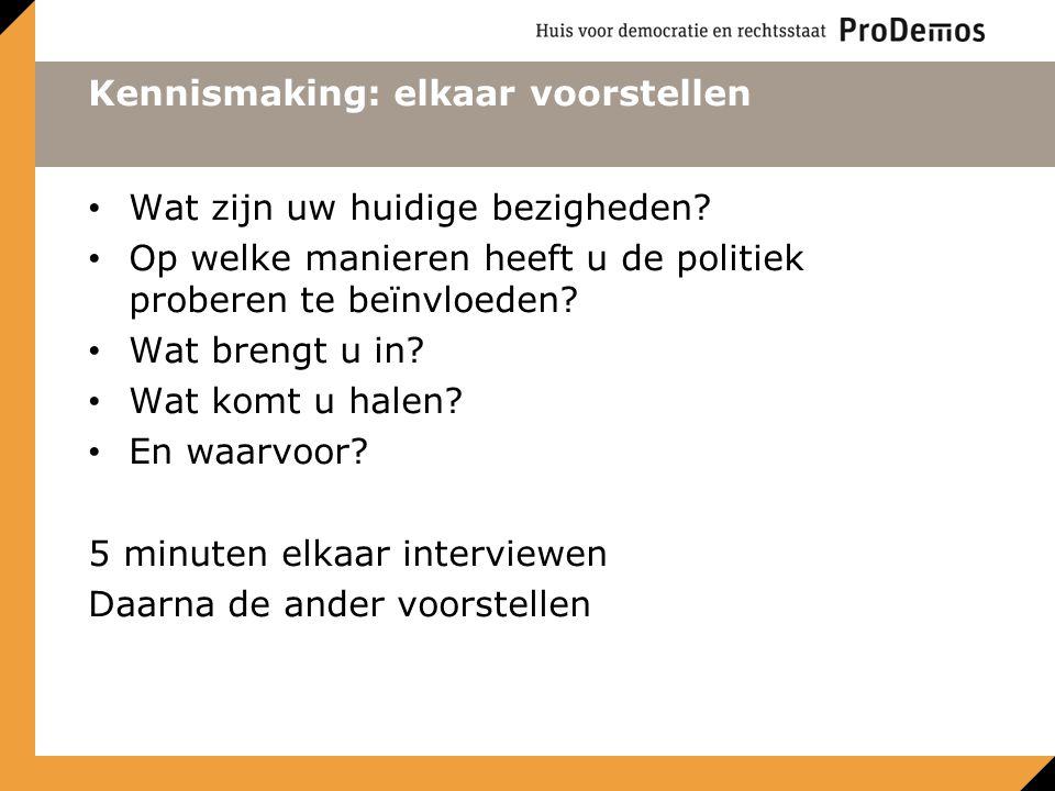 Kennismaking: elkaar voorstellen Wat zijn uw huidige bezigheden? Op welke manieren heeft u de politiek proberen te beïnvloeden? Wat brengt u in? Wat k
