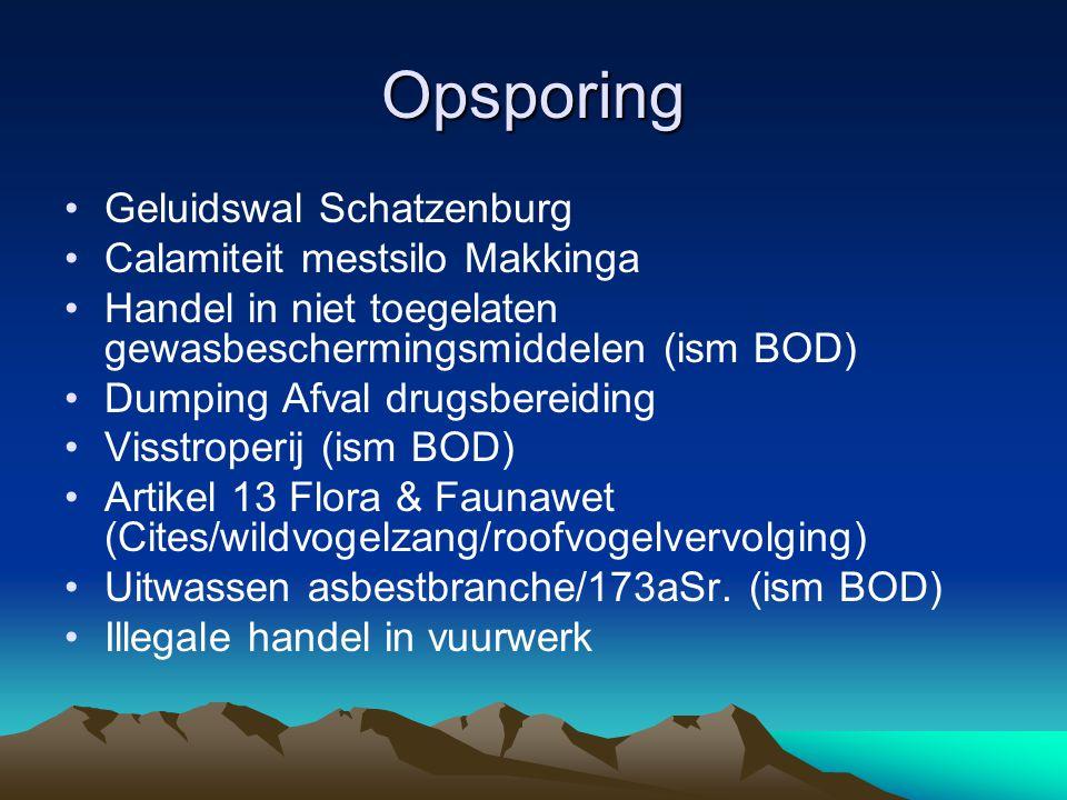 Opsporing Geluidswal Schatzenburg Calamiteit mestsilo Makkinga Handel in niet toegelaten gewasbeschermingsmiddelen (ism BOD) Dumping Afval drugsbereid