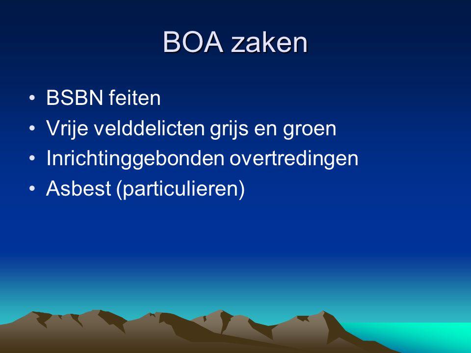 BOA zaken BSBN feiten Vrije velddelicten grijs en groen Inrichtinggebonden overtredingen Asbest (particulieren)