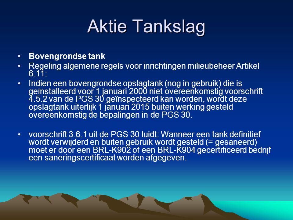 Aktie Tankslag Bovengrondse tank Regeling algemene regels voor inrichtingen milieubeheer Artikel 6.11: Indien een bovengrondse opslagtank (nog in gebr