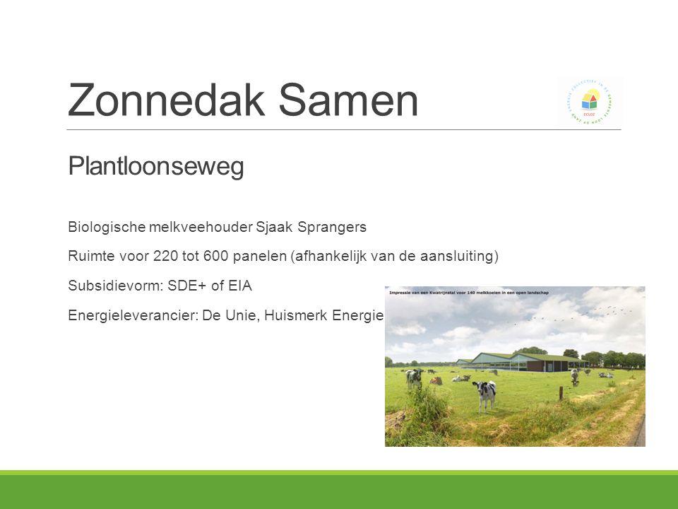 Plantloonseweg Biologische melkveehouder Sjaak Sprangers Ruimte voor 220 tot 600 panelen (afhankelijk van de aansluiting) Subsidievorm: SDE+ of EIA Energieleverancier: De Unie, Huismerk Energie of … Zonnedak Samen