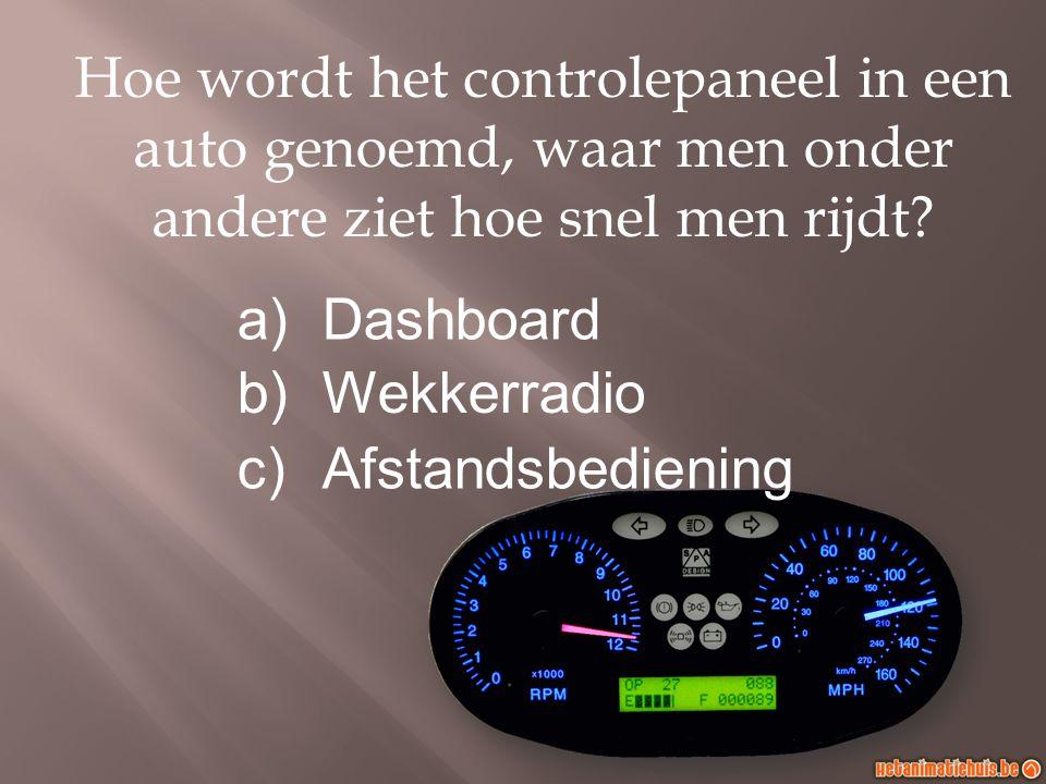Hoe wordt het controlepaneel in een auto genoemd, waar men onder andere ziet hoe snel men rijdt.