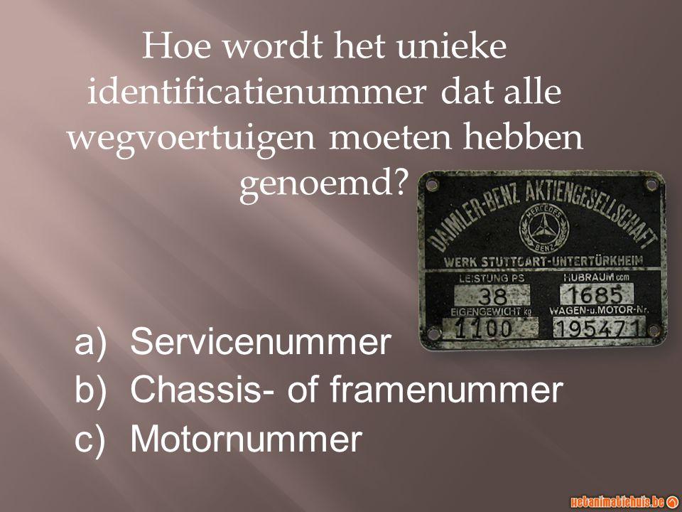 Hoe wordt het unieke identificatienummer dat alle wegvoertuigen moeten hebben genoemd.