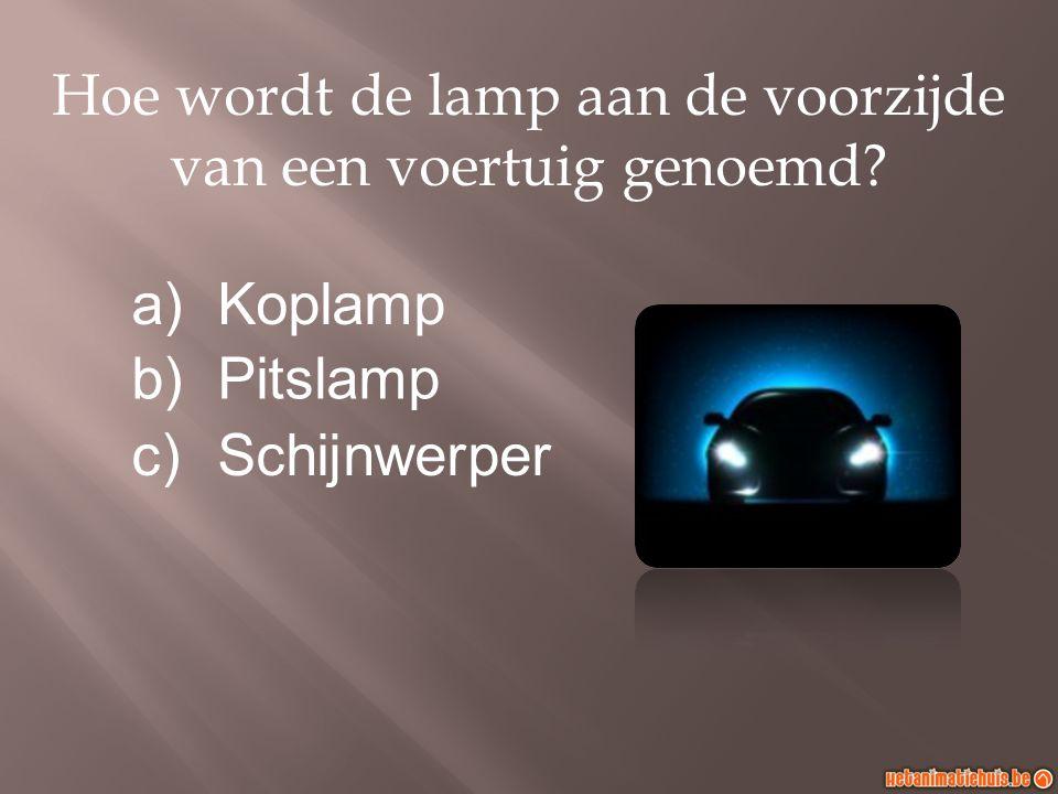 Hoe wordt de lamp aan de voorzijde van een voertuig genoemd? a)Koplamp b)Pitslamp c)Schijnwerper