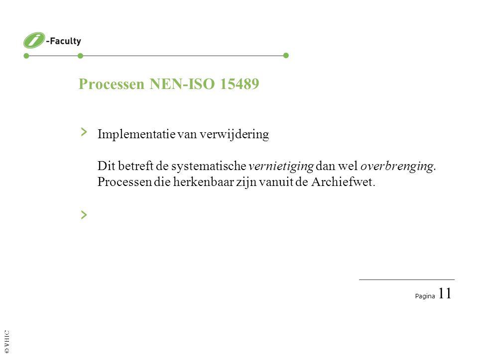 Pagina 12 © VHIC Processen NEN-ISO 15489 › Documenteren informatie- en archiefmanagementprocessen Vastleggen van bevoegdheden, beslissingen en keuzes.